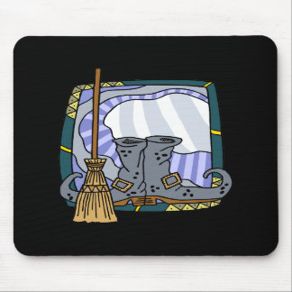 Witchy boots broom mousepads