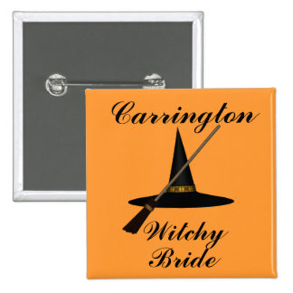 """""""Witchy Bride"""" - w/ Witch's Hat and Broom 2 Inch Square Button"""