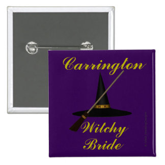 """Witchy Bride"" - w/ Witch's Hat and Broom Pinback Button"