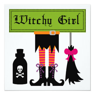 """Witchy Girl Halloween T-shirts and Gifts 5.25"""" Square Invitation Card"""
