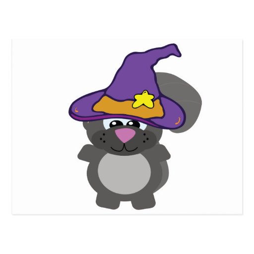 witchy goofkin squirrel postcard