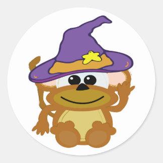 witchy goofkins monkey round sticker
