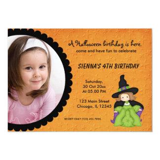 "Witchy Halloween Birthday 5"" X 7"" Invitation Card"