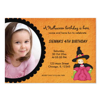 "Witchy Halloween Birthday (Orange) 5"" X 7"" Invitation Card"