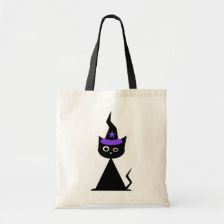 Witchy Halloween Cat Budget Tote Bag