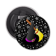 Witchy Halloween Fun Button Bottle Opener