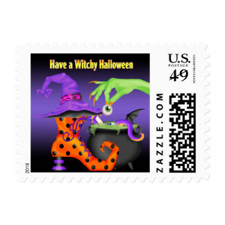 Witchy Halloween Postage Stamps