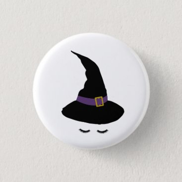 Halloween Themed Witchy Lashes Pinback Button
