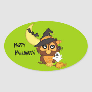 Witchy Owl, Bat+Ghost/Halloween Goody-Bag Sticker