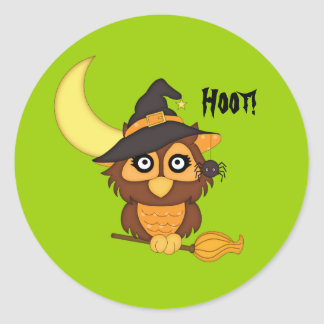 Witchy Owl+Crescent Moon-Halloween Classic Round Sticker