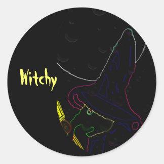 Witchy Pegatina Redonda