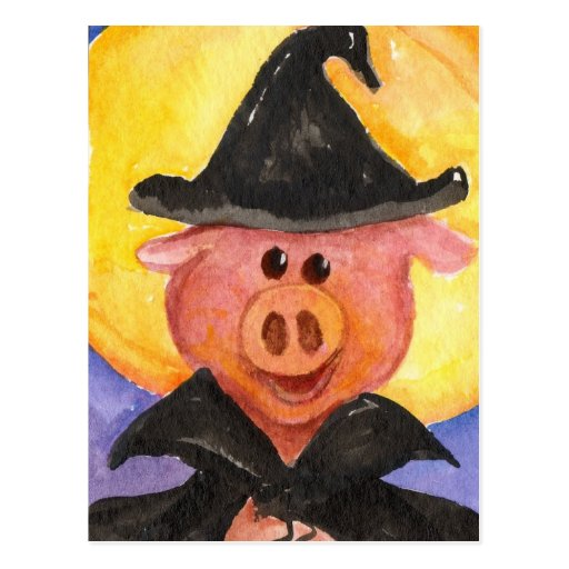Witchy Pig Post Card