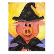 Witchy Pig Postcard