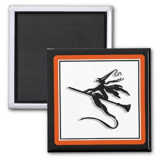 Witchy Silhouette 2 Inch Square Magnet