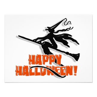 Witchy Silhouette W/Happy Halloween Wood Text Invitation