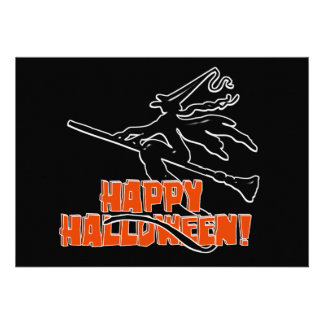 Witchy Silhouette W/Happy Halloween Wood Text Announcement