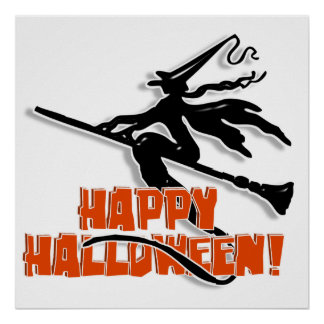 Witchy Silhouette W/Happy Halloween Wood Text Print