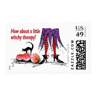 Witchy Therapy Halloween Design by Artist GG Burns Postage