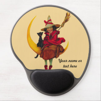 Witchy Woman and Black Cat Gel Mouse Pad