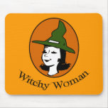 Witchy Woman Cartoon Style Mouse Pad