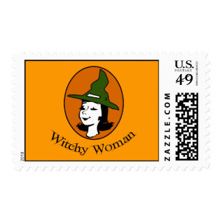 Witchy Woman Cartoon Style Stamps