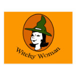 Witchy Woman Cartoon Style Postcard
