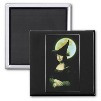 Witchy Woman Mona Lisa Halloween 2 Inch Square Magnet