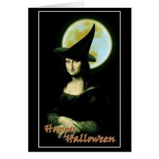 Witchy Woman Mona Lisa Halloween Card