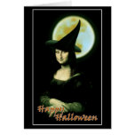Witchy Woman Mona Lisa Halloween Greeting Card