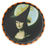Witchy Woman Mona Lisa Halloween Plate
