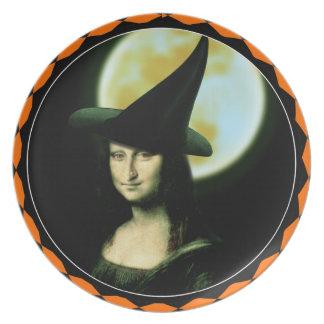 Witchy Woman Mona Lisa Halloween Plate