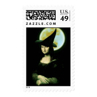 Witchy Woman Mona Lisa Halloween Postage