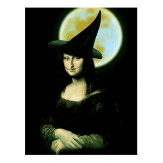Witchy Woman Mona Lisa Halloween Postcards