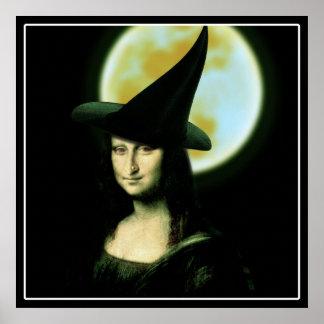 Witchy Woman Mona Lisa Halloween Poster
