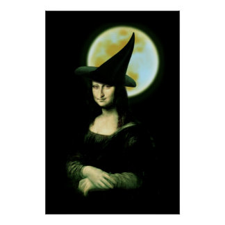 Witchy Woman Mona Lisa Halloween Poster