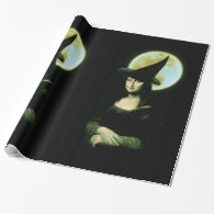 Witchy Woman Mona Lisa Halloween Wrapping Paper