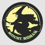 Witchy Woman Round Sticker