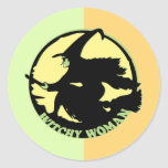 Witchy Woman Round Stickers