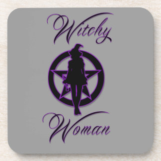 Witchy woman silhouette with pentacle coaster