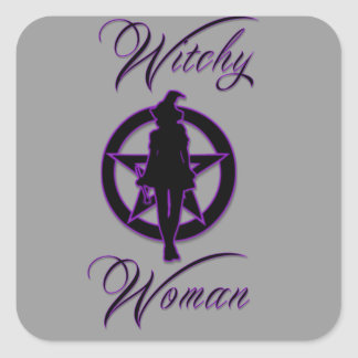 Witchy woman silhouette with pentacle square sticker