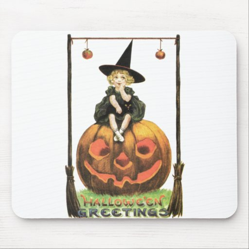 Witchy Woman Vintage Halloween Mousepads