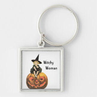 Witchy Woman Vintage Halloween Silver-Colored Square Keychain