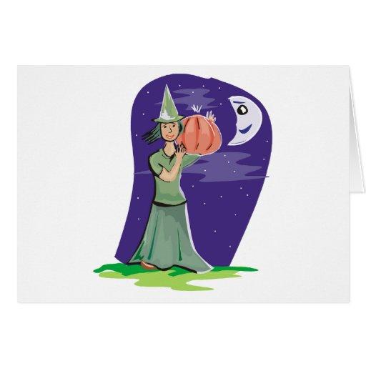 Witchy y calabaza tarjeton