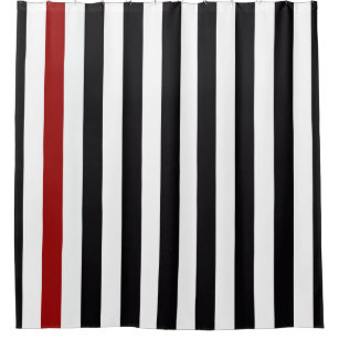With A Black And Red Stripe Shower Curtain
