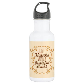 With A Grateful Heart Thanksgiving | Water Bottle