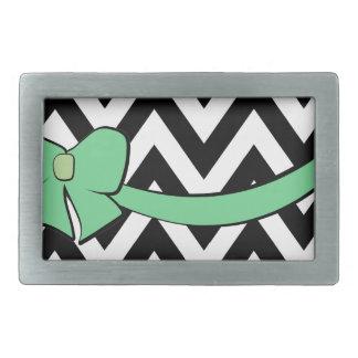With A Mint Green Bow Rectangular Belt Buckle