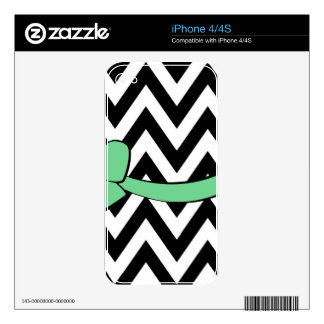 With A Mint Green Bow Skins For iPhone 4S