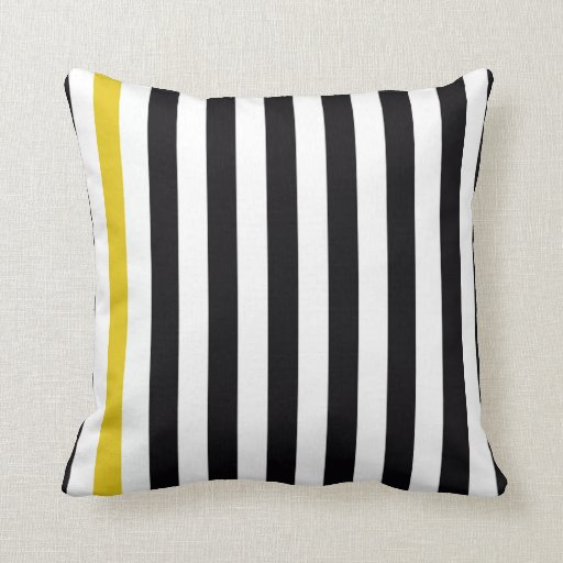 Yellow Striped Throw Pillows : With A Yellow Stripe Throw Pillow Zazzle