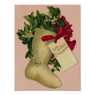 With All Good Christmas Wishes Vintage Boot Poster
