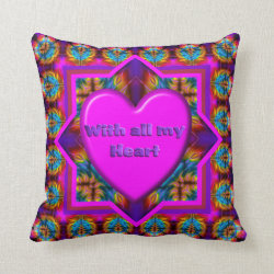 With all my Heart Valentine Kaleidoscope Design Throw Pillow